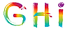 Set of rainbow letters GHI