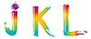 Set of rainbow letters JKL