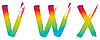 Vector clipart: Set of rainbow letters VWX