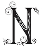 Vector clipart: Decorative letter N