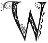 Vector clipart: Decorative letter W