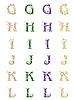 Векторный клипарт: цветочный алфавит GHIJKL