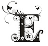 Vector clipart: Decorative letter E with flowers for design