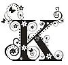 Vector clipart: Decorative letter K with flowers for design