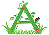 Векторный клипарт: Декоративная цветочная буквица A