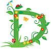 Векторный клипарт: Декоративная цветочная буквица D