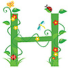Векторный клипарт: Декоративная цветочная буквица H
