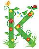 Векторный клипарт: Декоративная цветочная буквица K