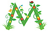 Декоративная цветочная буквица M