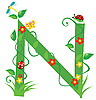 Vector clipart: Decorative flower letter N