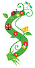 Векторный клипарт: Декоративная цветочная буквица S