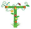 Векторный клипарт: Декоративная цветочная буквица T