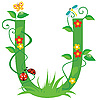 Векторный клипарт: Декоративная цветочная буквица U