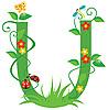Vector clipart: Decorative flower letter U
