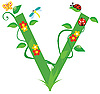 Векторный клипарт: Декоративная цветочная буквица V