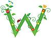 Векторный клипарт: Декоративная цветочная буквица W