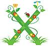 Векторный клипарт: Декоративная цветочная буквица X
