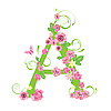 Vector clipart: Decorative letter A with roses