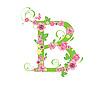 Векторный клипарт: Декоративная буквица B с розами