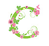 Vector clipart: Decorative letter C with roses