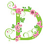 Vector clipart: Decorative letter D with roses