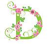 Векторный клипарт: Декоративная буквица D с розами