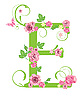 Decorative letter E with roses