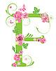 Векторный клипарт: Декоративная буквица F с розами