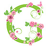 Vector clipart: Decorative letter G with roses