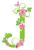 Vector clipart: Decorative letter J with roses