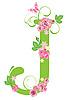 Векторный клипарт: Декоративная буквица J с розами