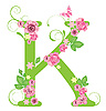 Vector clipart: Decorative letter K with roses
