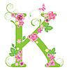 Векторный клипарт: Декоративная буквица K с розами