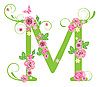Vector clipart: Decorative letter M with roses