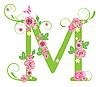 Векторный клипарт: Декоративная буквица M с розами