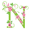 Decorative letter N with roses