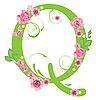Vector clipart: Decorative letter Q with roses