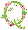 Векторный клипарт: Декоративная буквица Q с розами
