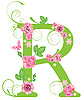 Vector clipart: Decorative letter R with roses