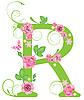 Векторный клипарт: Декоративная буквица R с розами