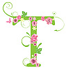 Decorative letter T with roses