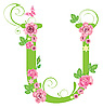 Vector clipart: Decorative letter U with roses