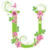 Векторный клипарт: Декоративная буквица Uс розами