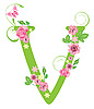 Vector clipart: Decorative letter V with roses