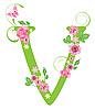 Векторный клипарт: Декоративная буквица V с розами