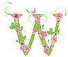 Vector clipart: Decorative letter W with roses