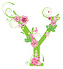 Vector clipart: Decorative letter Y with roses