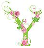 Векторный клипарт: Декоративная буквица Y с розами