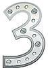 Vector clipart: metallic digit three
