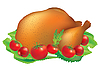 Vector clipart: Grilled turkey with tomatoes